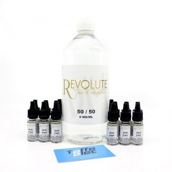 Pack DIY avec nicotine 1 litre 50/50 - Revolute